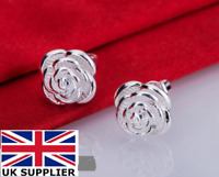 925 Sterling Silver Rose Stud Earrings Ear Jewellery Women UK Seller