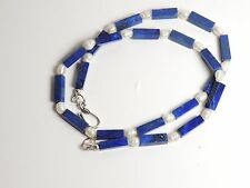 "NECKLACE Genuine Natural Untreated Afghan LAPIS LAZULI ""Rectangle & PEARL"" BEAD"