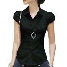 Womens VANCY Shirt Collared Work Fitted blouse Ladies Vintage Blouse Top Size
