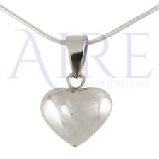 "925 Sterling Silver 10mm Pouch Heart Pendant with 18"" Chain"