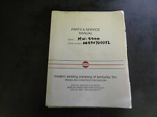 Modern Welding Company Model Mw-5500 Parts & Service Manual