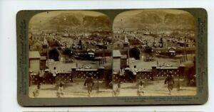 Vintage Stéréogramme Tsariste Russe Troupes dans Le Port Arthur Manchuria