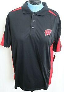 New University Wisconsin Badgers Black Polo Stripe Shirt J. America Men's L