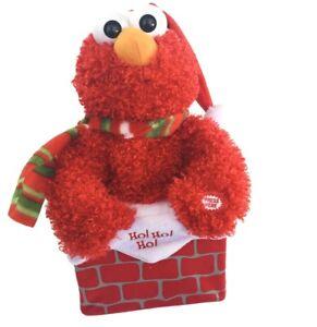 """Kurt Adler 12"""" Sesame Street Animated  Musical Elmo in Chimney Christmas Decor"""