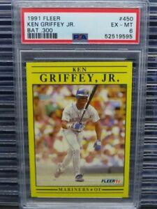 1991 Fleer Ken Griffey Jr Bat .300 #450 PSA 6 Mariners R118