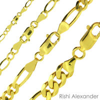 Genuine REAL SOLID 10K GOLD Mens Women Figaro Link Chain Necklaces or Bracelets