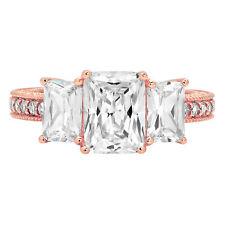 4.36 Accent 3 Stone Emerald Engagement Bridal Wedding Promise Ring 14K Rose Gold