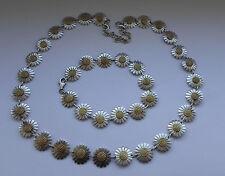 Impressive Danish *DAISY* Gilded Sterling Daisy Matching Necklace & Bracelet