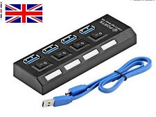 Slim 4-Port USB 3.0 5GBPS Speed Portable Compact Hub - UK Adapter For PC Laptop
