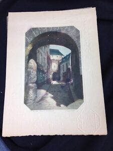 Vintage St Michel Mission Lequerre  Etching  with Embossed Border c.1925