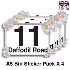 A5 [4 Pack] - Daffodil Flower, Personalised Wheelie Bin Stickers / Vinyl Labe...