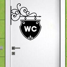 Toilet WC Bathroom Door Wall Sign Sticker Cafe Pub Shop Art Sign Sticke Decal RF