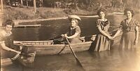 Real Photo RPPC 4 Women Bathing Dress~2 Hold Hands One Rows Boat~Tully Lake NY