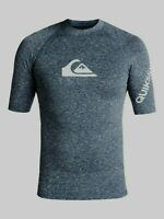 QUIKSILVER MENS RASH VEST.ALL TIME UPF50+ SURF RASHGUARD NAVY TOP T SHIRT 9S 36B