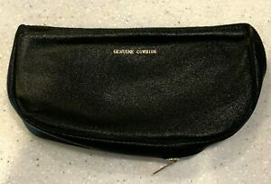 Genuine Cowhide Black Leather Zippered Tobacco & Pipe Pouch