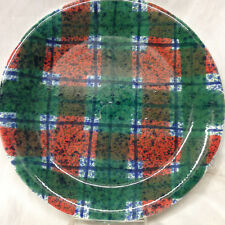 "Tartan Plaid Christmas 10.5"" Dinner Plate Dept 56 Italy Red Green HOLIDAY"