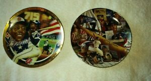 2 The Mantle Story New York Yankees & Atlanta Braves Hank Aaron Collector Plates