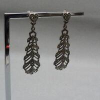 925 Silber Ohrringe - mit Markasiten - l: ca.5,4 cm