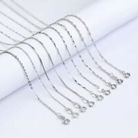 Genuine 925 Sterling Silver Box Curb Rope Chain Necklace 40/45cm Gift Present