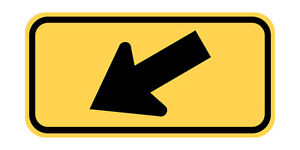 W16-7P - DiagonalArrow (plaque) - 24 x 12 - A Real Sign. 10 Year 3M Warranty.