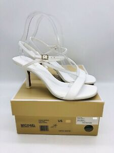 Michael Kors Women's Tasha Leather Slingback Sandals Optic White - choose size