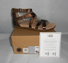 UGG WOMEN'S CHERIE GOLD PONY BROWN LEATHER GLADIATOR SANDALS SIZE 11 NEW IN BOX