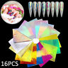 16Pcs Holographic Fire Flame Nail Art Hollow Stickers Manicure Decal Nails Tips