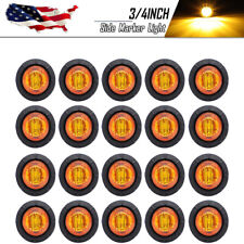 20X Round 3/4'' Side Marker LED Lights Bullet Clearance For Truck Trailer RV Van