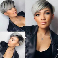 Wigs for Women Ombre Gray Pixie Cut Short Synthetic Hair Wig Bob Full Wigs Party