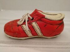Vintage Ceramic Baseball Cleat Sports Shoe 1960's Era Style Coin Bank Red White
