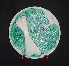 VINTAGE GORGEOUS PORTUGUESE MAJOLICA WHITE ASPARAGUS PLATE ON PLANT LEAF