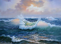 Oil painting charming seascape very nice sunset with ocean waves free postage