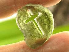 Moldavite Cross hand made carved carving 12.95cts = 2.59g CARV426