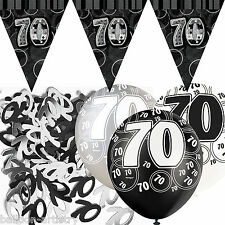 Black Silver Glitz 70th Birthday Flag Banner Party Decoration Pack Kit Set
