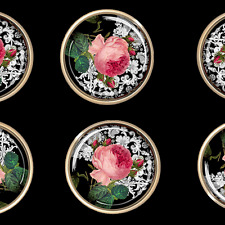 6 Damask Roses Pink Black and White Cabinet Drawer Knob Pulls Ornate Gold Glass