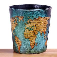 DreamsEden Vintage Leather Trash Can - Retro Waste Toillet Paper Bin Basket for