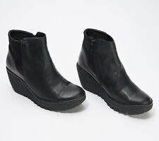 Fly London Women's Yavo Wedge Ankle Boots Size 40 WIDE, Black Leather