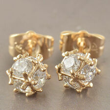 Cute New 9K Yellow Gold Filled Clear Cubic Zirconia CZ Cubic Ball Stud Earrings