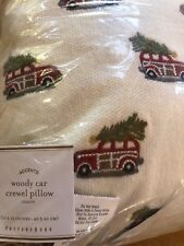 """Pottery Barn Mini Woody Car Crewel Complete Pillow - 16"""" - Holiday/Christmas NEW"""