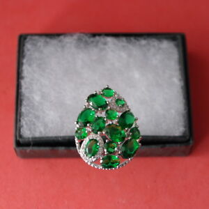 Gorgeous Green Chrome Diopsite & White CZ Silver Ring Size N34  US 7.25 In Box
