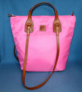 NWT DOONEY & BOURKE Windham Evelyn Bag Pink Nylon & Tan Leather Trim BWIND0204