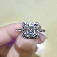 Asscher Cut 2.90 Carat White Cubic Zirconia Anniversary 925 Sterling Silver Ring