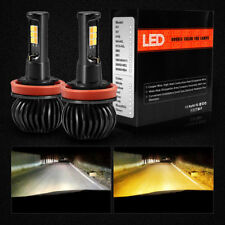 1 Pair Dual Color 1300LM 160W H8 H11 LED Fog Light Bulbs White+Yellow 12SMD 3030