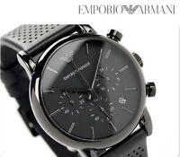 BRAND NEW EMPORIO ARMANI CHRONOGRAPH BLACK DIAL BLACK LEATHER MEN WATCH AR1737
