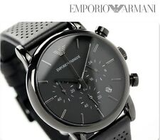 BRAND NEW EMPORIO ARMANI CHRONOGRAPH BLACK DIAL BLACK LEATHER MEN WATCH AR1737