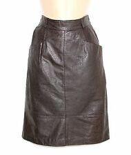 Brown Patterned 100% Real Leather High Waist Pencil Ladies Skirt size UK 4 UK 6