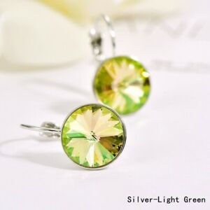 Fashion Silver Round Yellow Zircon Dangle Drop Earring Valentine'S Day Jewelry