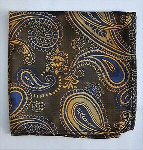 Hankie Pocket Square Handkerchief Bronze Gold & Blue Paisley