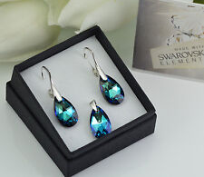 925 STERLING SILVER EARRINGS/SET MADE WITH SWAROVSKI 16mm PEAR - BERMUDA BLUE