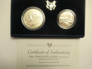 1991-95 US Mint UNC  2 Coin Set, WWII, silver dollar & clad half